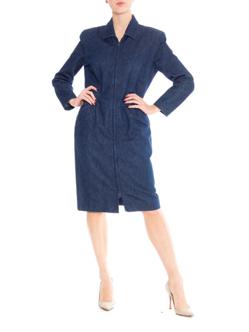 1980S Donna Karan Indigo Blue Denim Zip Front Dress
