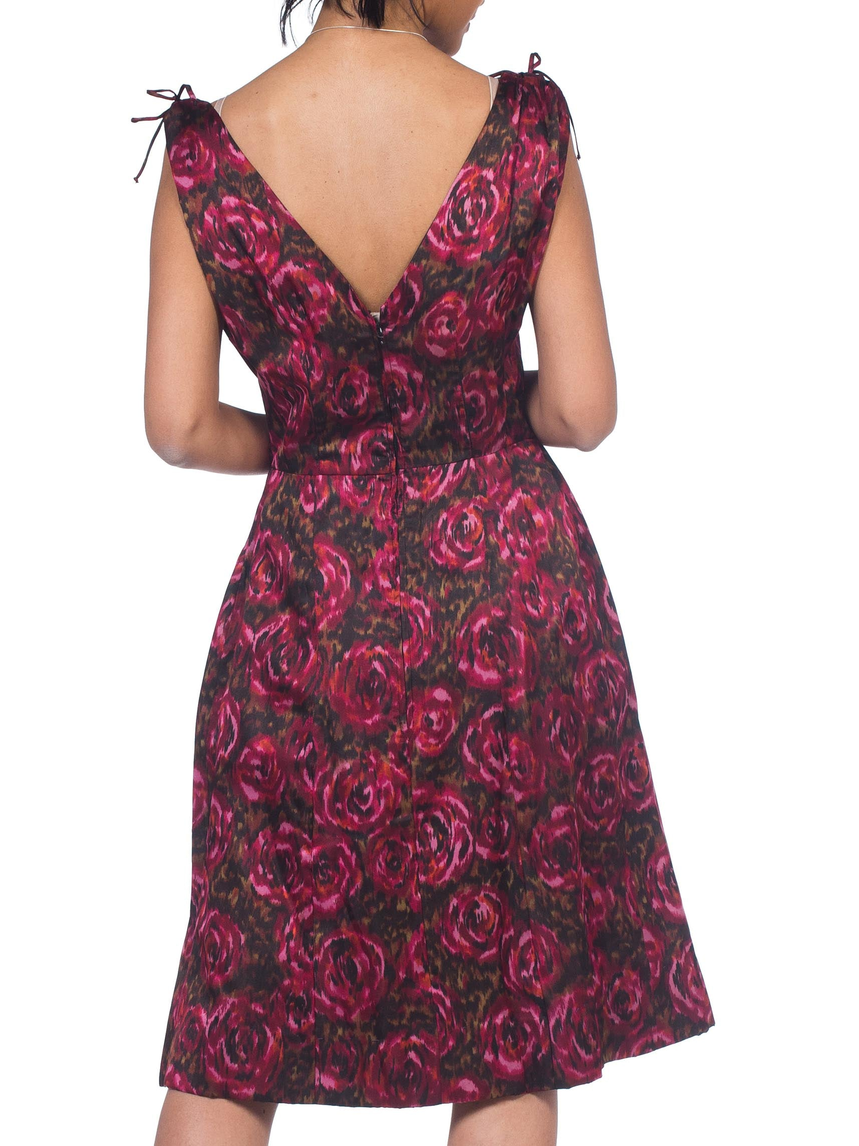 1950S Cranberry Red & Black Silk Satin Floral Ikat Cocktail Dress