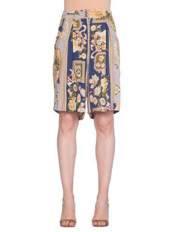 Shorts With Baroque Floral Print