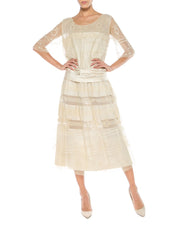 1920s White Net and Embroidered Dress