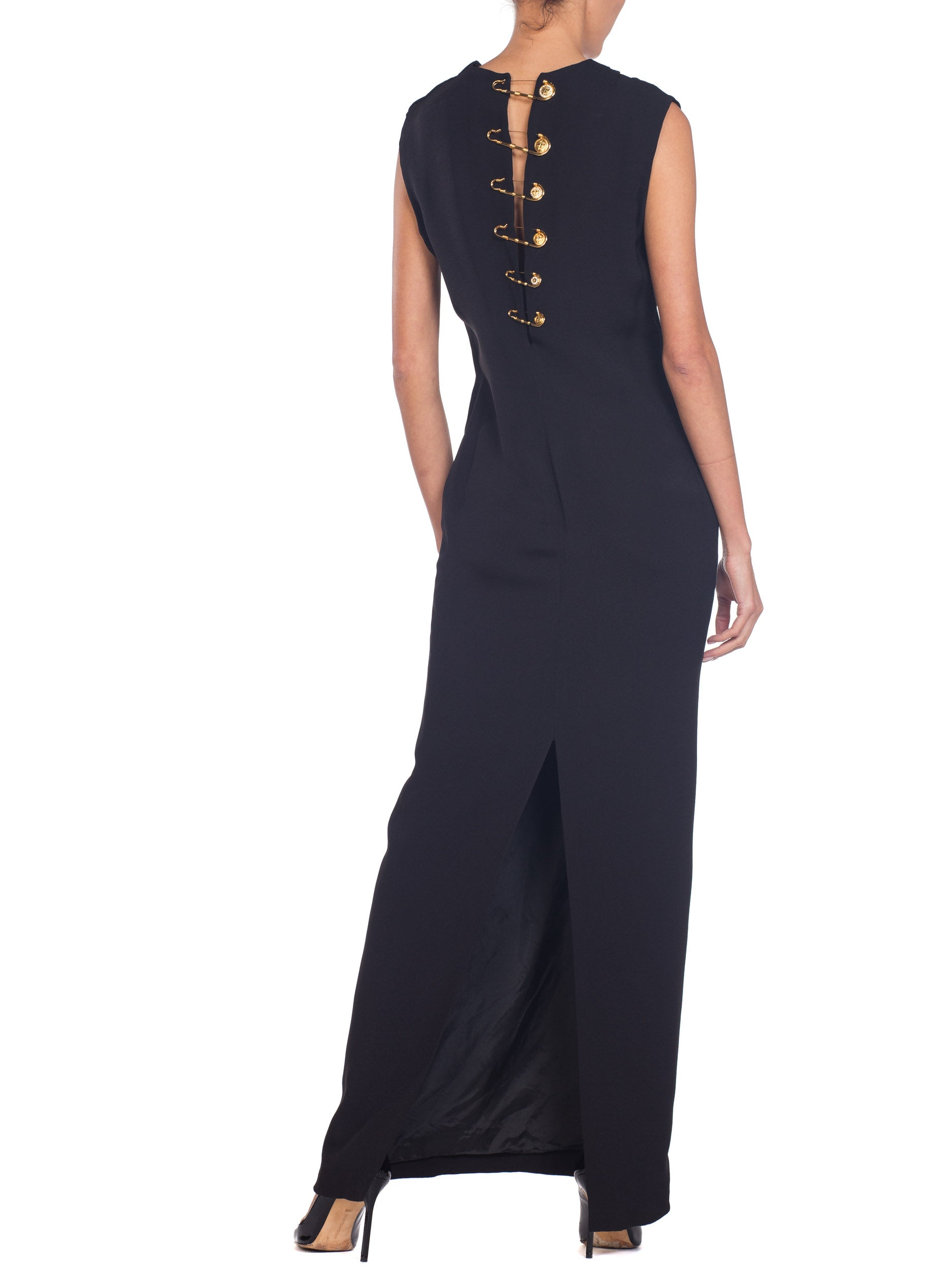 1990S GIANNI VERSACE Black Silk Crepe Gold Safey Pin Gown