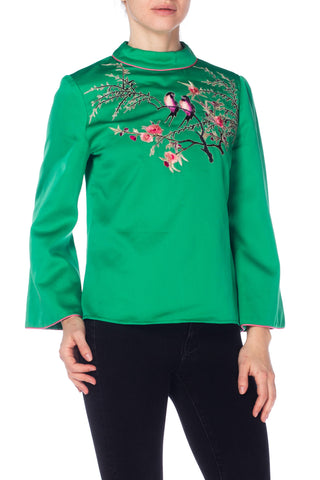 1970S Green Polyester Sateen Top With Hand Embroidered Love Birds And Flowers