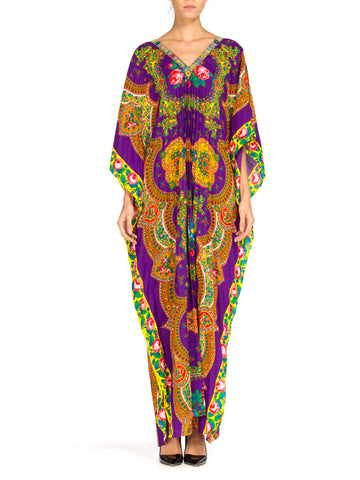 1970s Boho Floral Paisley Kaftan with Ribbon Trim