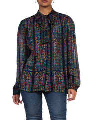 1970s Boho Bow-Neck Stained Glass Window Blouse