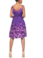 1950s Purple Floral Cotton Dress With Pockets