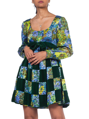 1960S MALCOLM STARR Blue & Green Rayon/Lurex Velvet Patchwork Baby Doll Mini Cocktail Dress