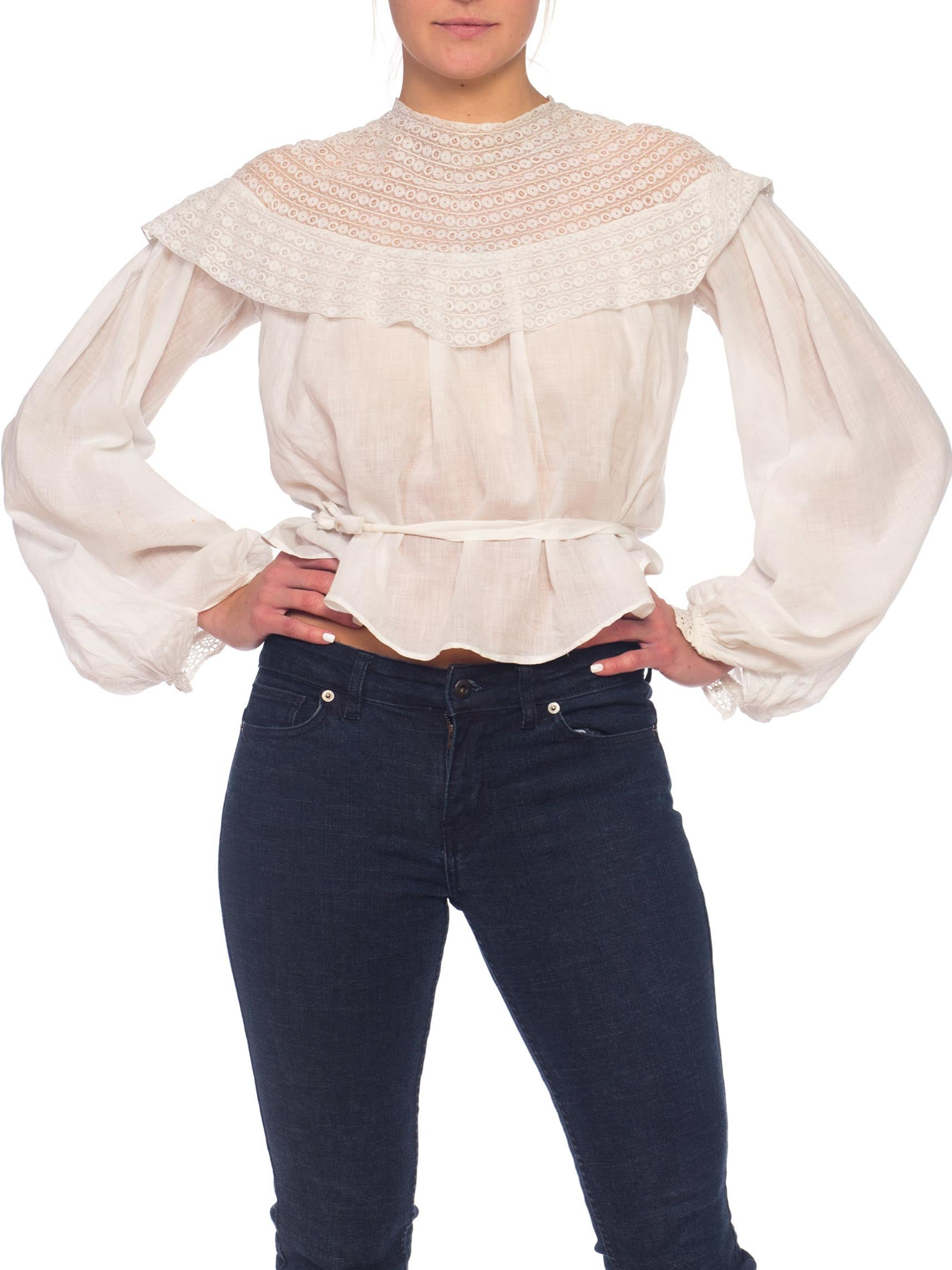 White Cotton Voile & Tape Lace Swan Neck Blouse With Bishop Sleeves