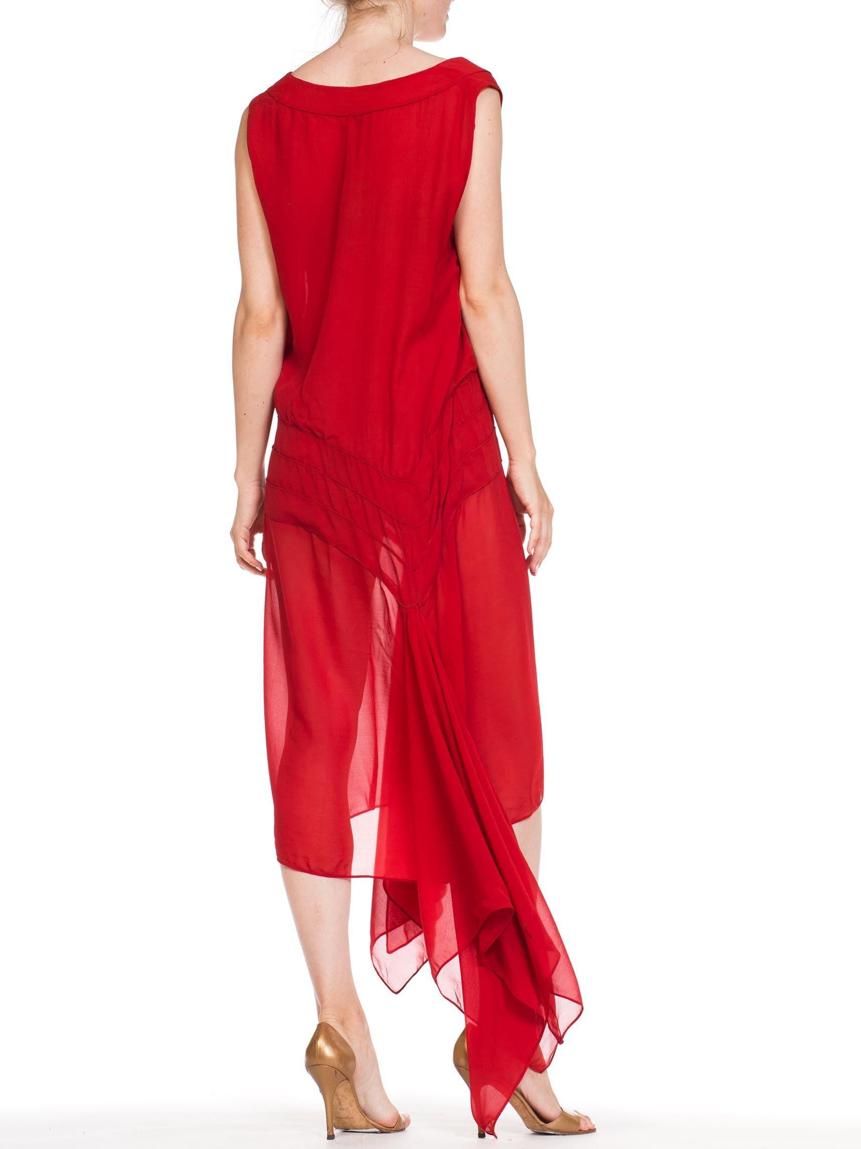 1920S Lipstick Red Haute Couture Silk Chiffon Flutter Hem Dancing Dress With Exceptional Piping & Hand Finishing