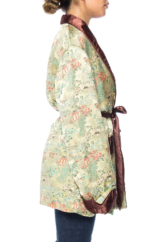 1960s Asian Landscape Patterned Men's Robe