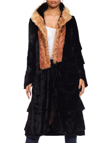 Rare High Collar 1920s Ruffled Silk  Velvet Coat With Fur