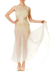 1980s Bridal White Chiffon Embroidered and beaded Gown with Train