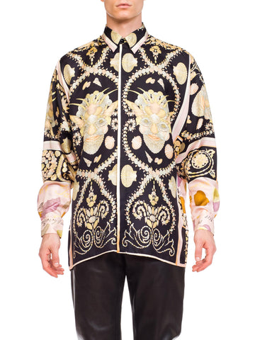 1990s Men's Gianni Versace Baroque Shell Portrait Silk Shirt