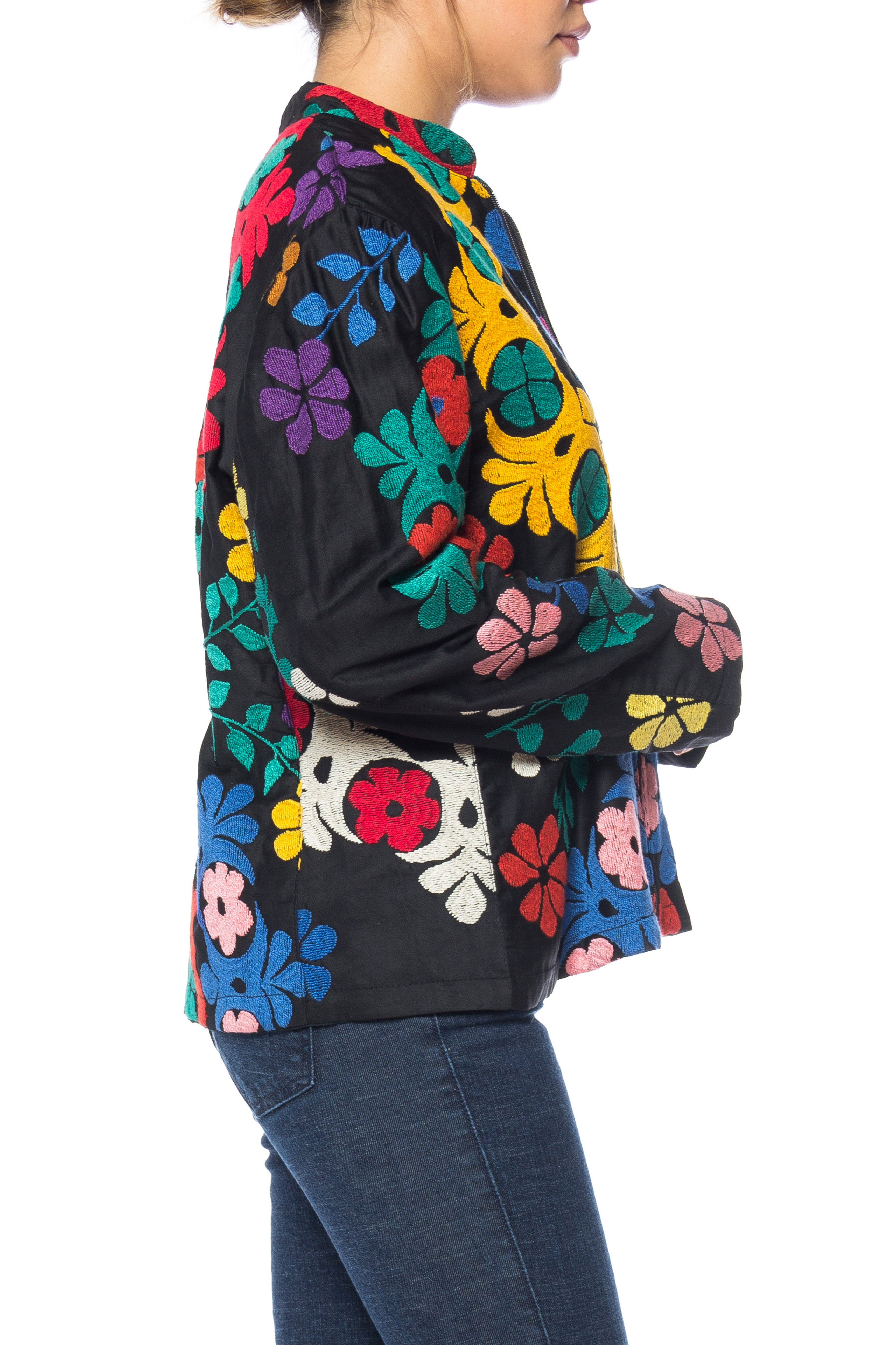 1970S Black Cotton Zip Front Jacket Covered In Uzbek Hand Embroidery