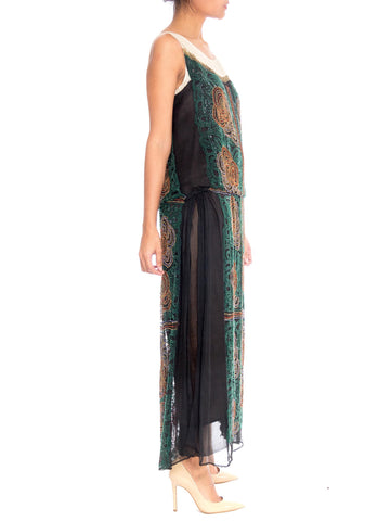 1920S Black Beaded Silk Chiffon Over Satin Cocktail Dress With Golden Art Deco Flowers & Leaves
