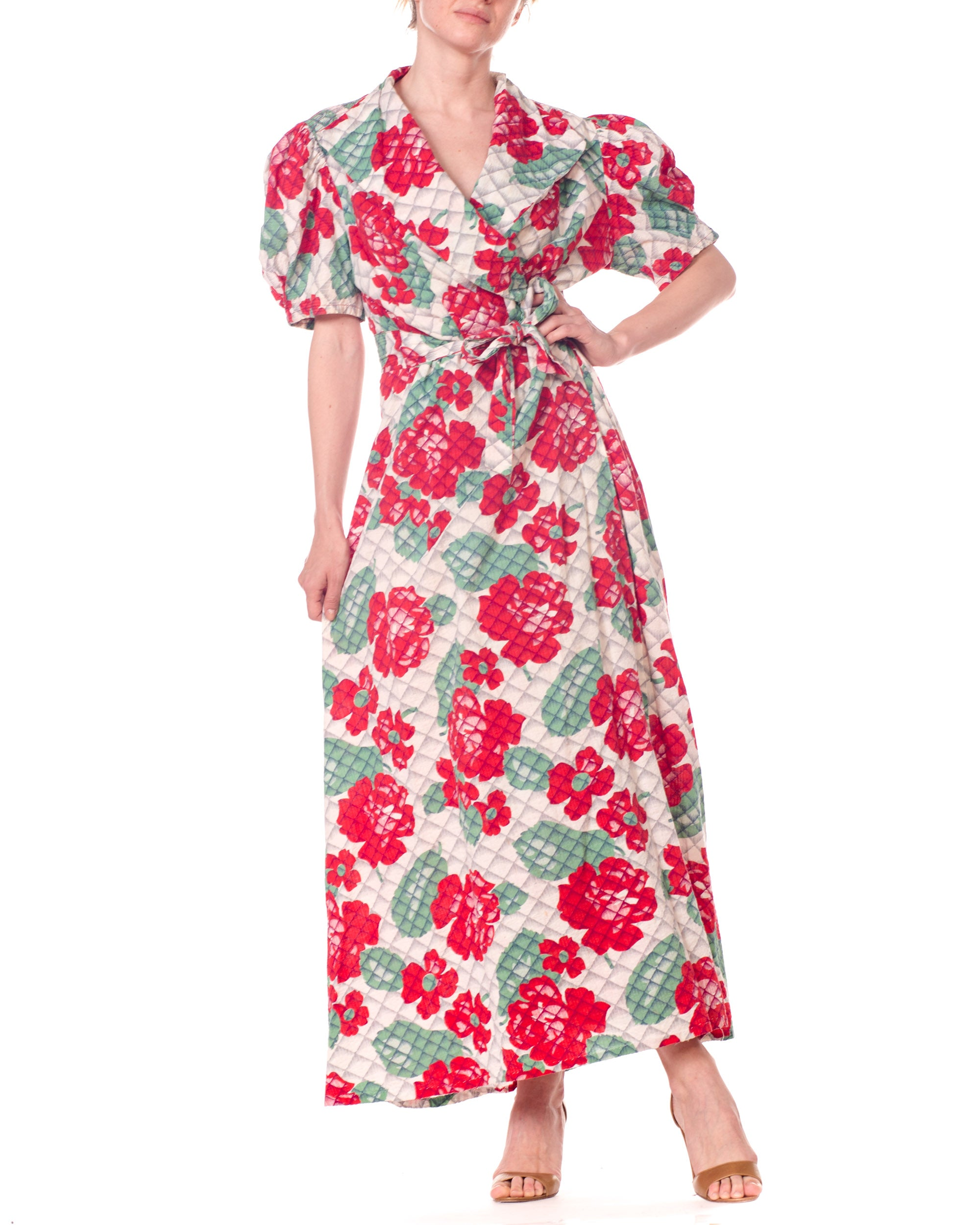 1940S Red & Green Cotton Floral Print Wrap Dress House Robe