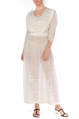 Edwardian White Lace Gown With Pintucked Sleeves