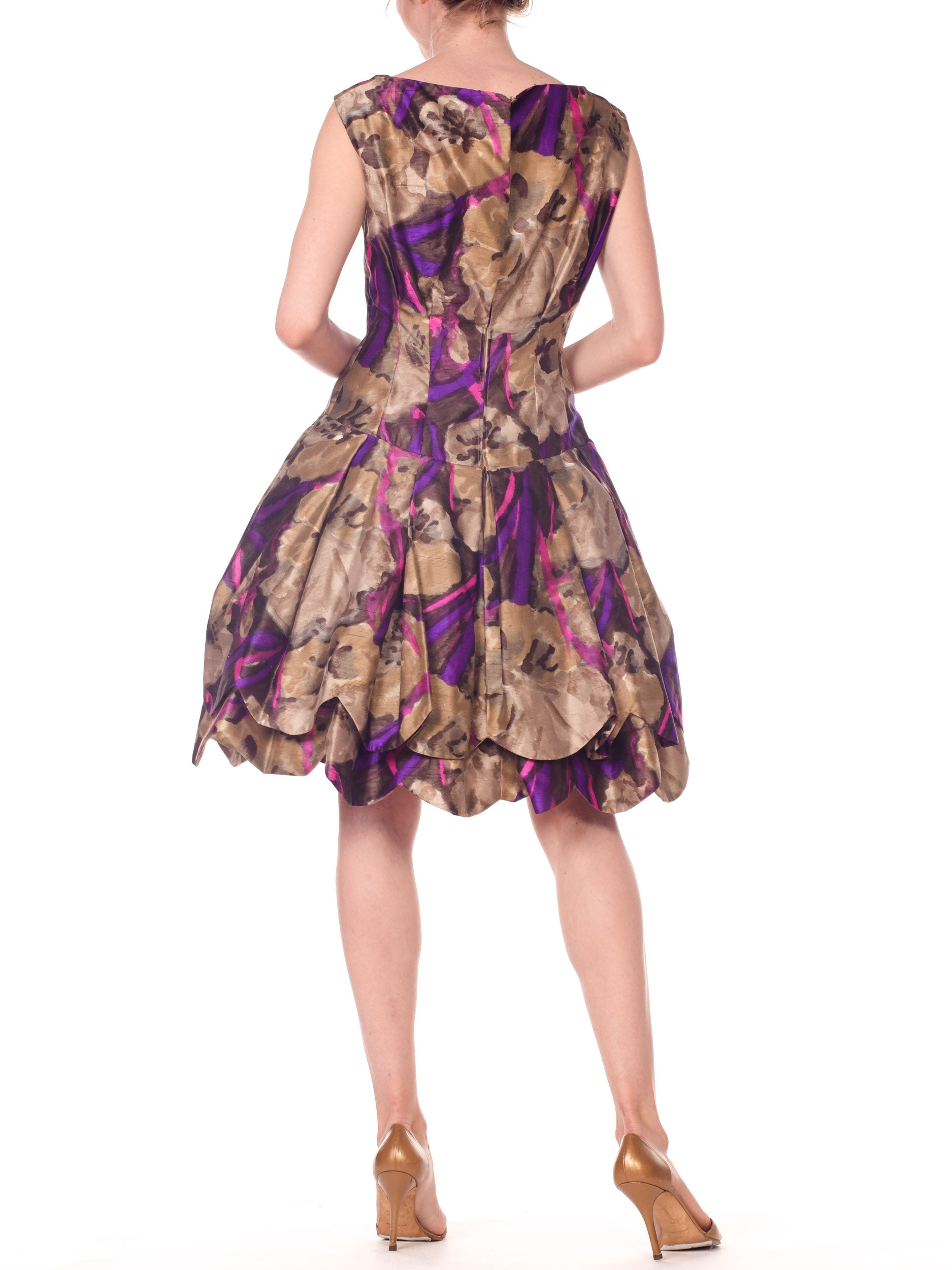 1950S Sepia & Purple Silk  Abstract Floral Dress With Petaled Drop-Waist Skirt