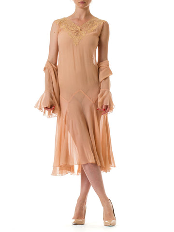 1920S Blush Pink Silk Chiffon & Lace Sheer Dress With Jacket