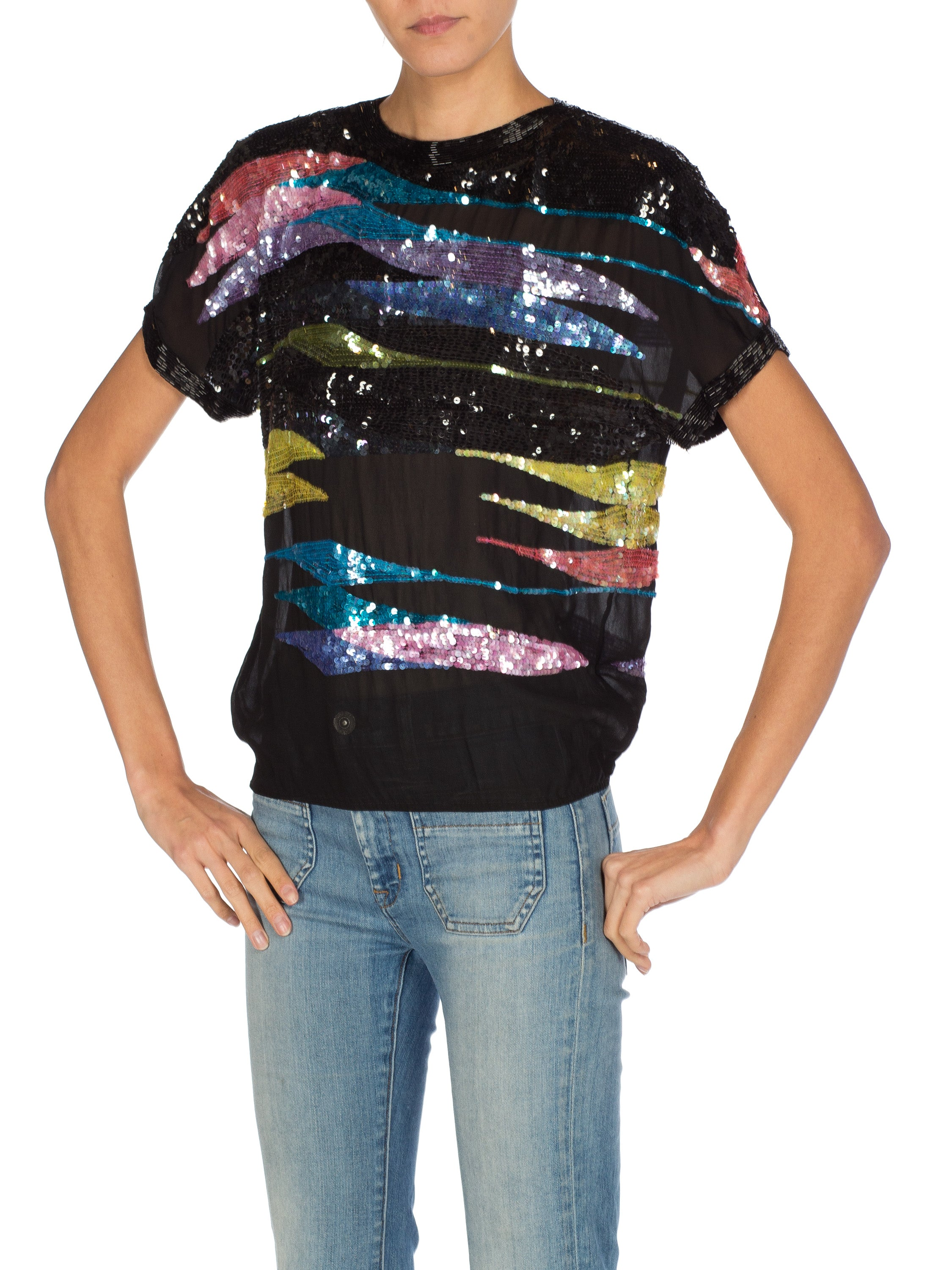 1980S Silk Circa Vintage Sequined Chiffon Top