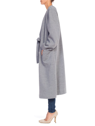 1980S Heather Grey Wool Knit Handmade Unlabeled Couture Wrap Sweater Coat