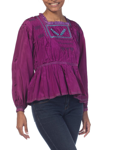 1940S Purple Rayon Boho Eastern European Hand Embroidered Peasant Blouse