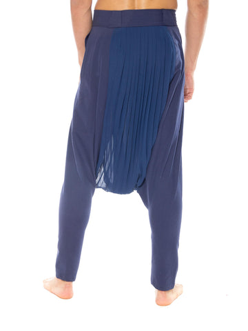 MORPHEW COLLECTION Blue  Pleated Polyester Chiffon & Wool Pants