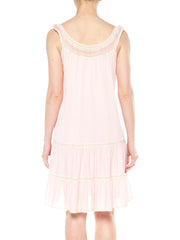 1960s Babydoll Pink Slip with White Lace