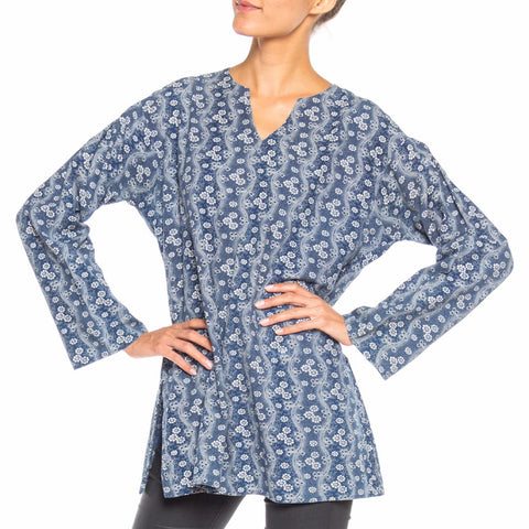 1920S Indigo Blue & White Organic Cotton Floral Print Tunic Top
