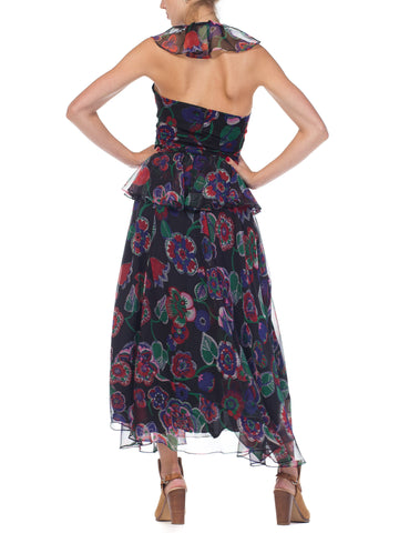 1970S Albert Capraro Floral Polyester Chiffon Skirt & Top Ensemble
