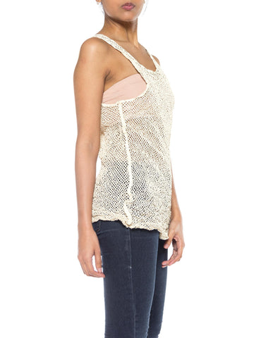 1980S Ivory Leather Net Tank Top
