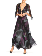 Morphew Lab Black Lurex Lined Stormy Cloud Silk Chiffon Flutter Sleeve Gown