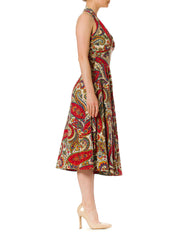 1950s Paisley Rockabilly Cotton Print Dress