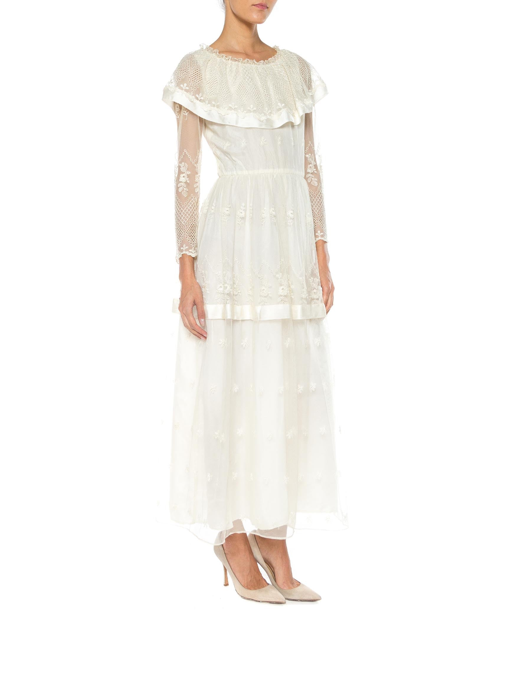 1970S MAG FORTAIL Ivory Poly Blend Chiffon & Lace Net Maxi Dress