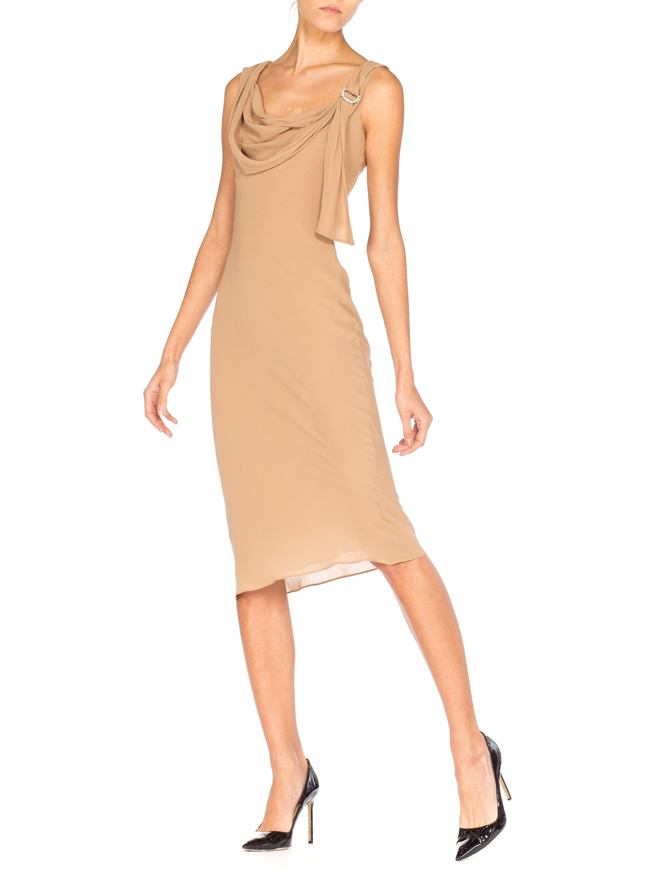 Beige chiffon Galliano 20s inspired drape neck dress with rhinestone buckle