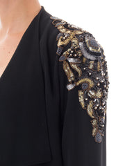 1980s Black Satin Beaded Jacket