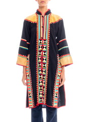 1970s Ethnic Embroidered Geometric Print Thai Caftan