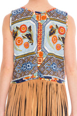 Morphew Collection Printed Patchwork Cotton Floral Boho Vest With Hand-Cut Long Suede Fringe