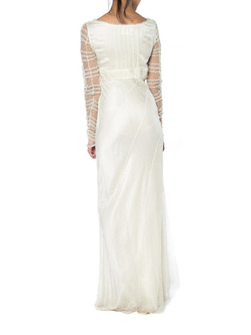 1990S ALBERTA FERRETTI Cream Bias Cut Silk Charmeuse & Tulle Lace Empire Waist Bridal Gown With Embroidered Sleeves