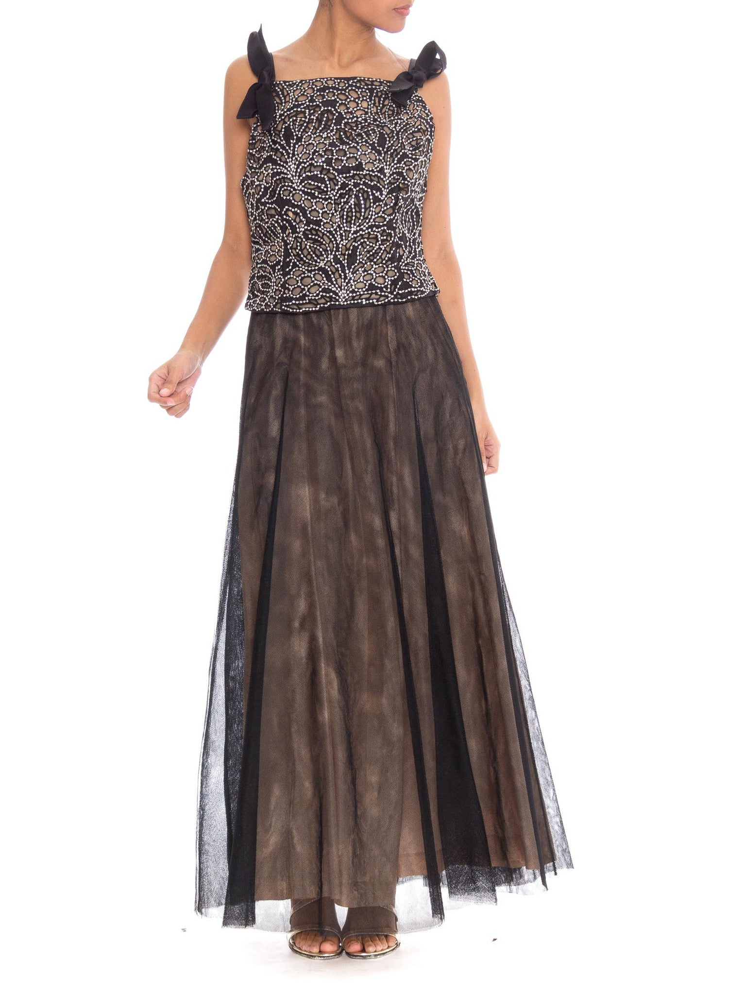 Elegant Valentino Lace and Crystal Bodice with Net and Taffeta Gown