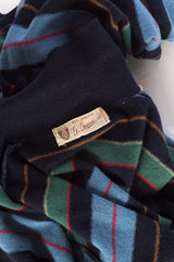 1980s Gucci LambsWool Preppy Striped Polo Neck Sweater