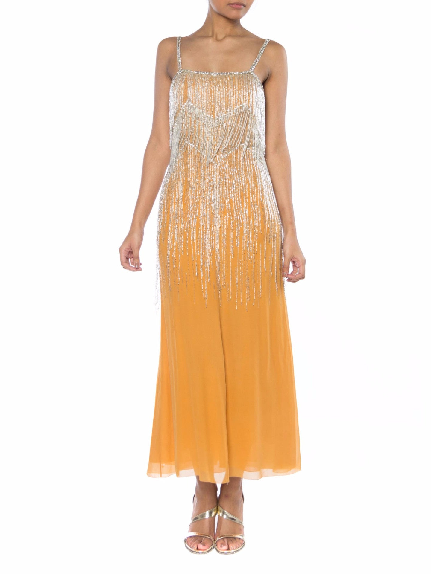 1970S CHRISTIAN DIOR Haute Couture Silk Chiffon Crystal Beaded Fringe Cocktail Dress
