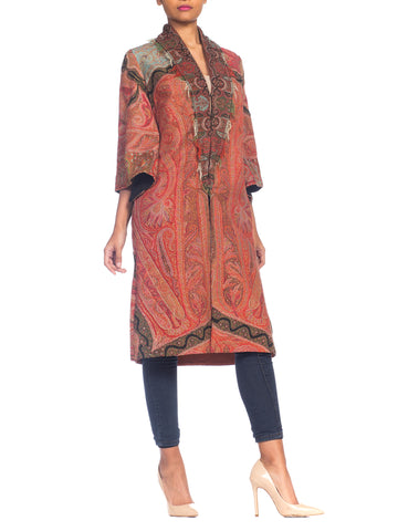 Hand Embroidered Coat Made From Antique Victorian Wool Paisley Shawls