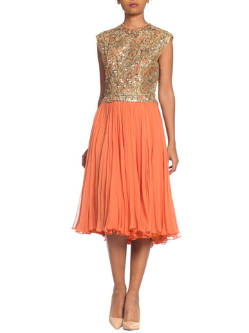 1960s Beaded Pat Sandler Silk Chiffon Tangerine Orange Dress