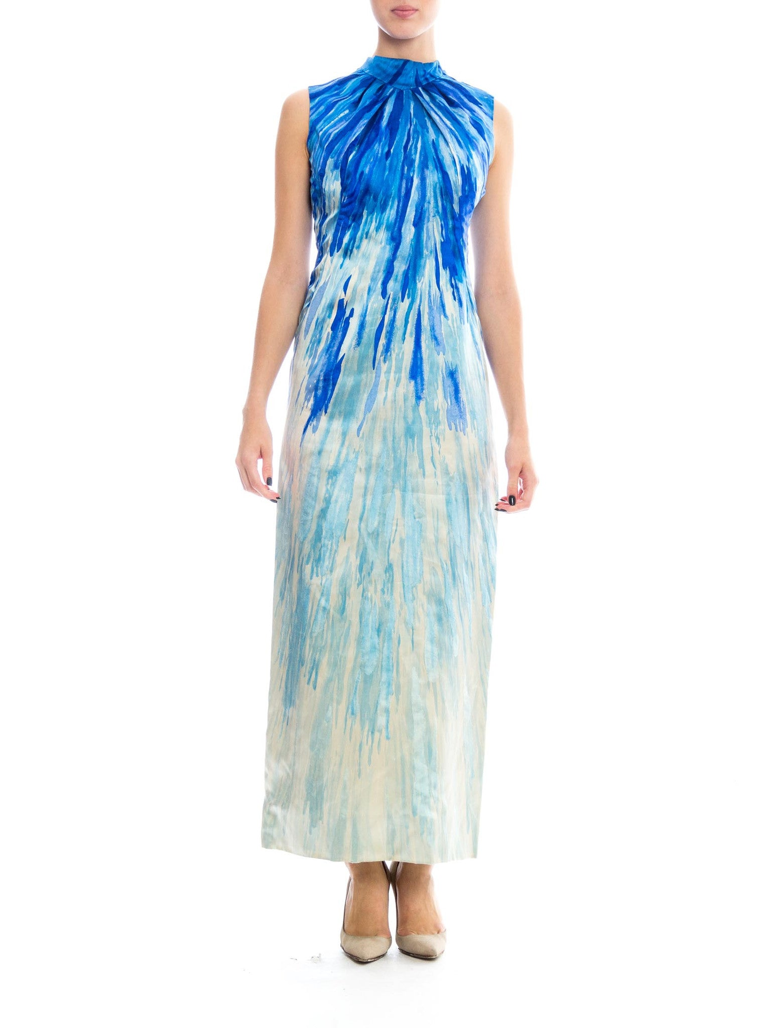 1960s Mod Watercolor Abstract Print Gown