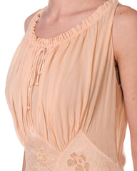 1930s Peach Silk Bias Cut Negligee with Sheer Chiffon Hand Embroidery Bodice and Gathered Neckline