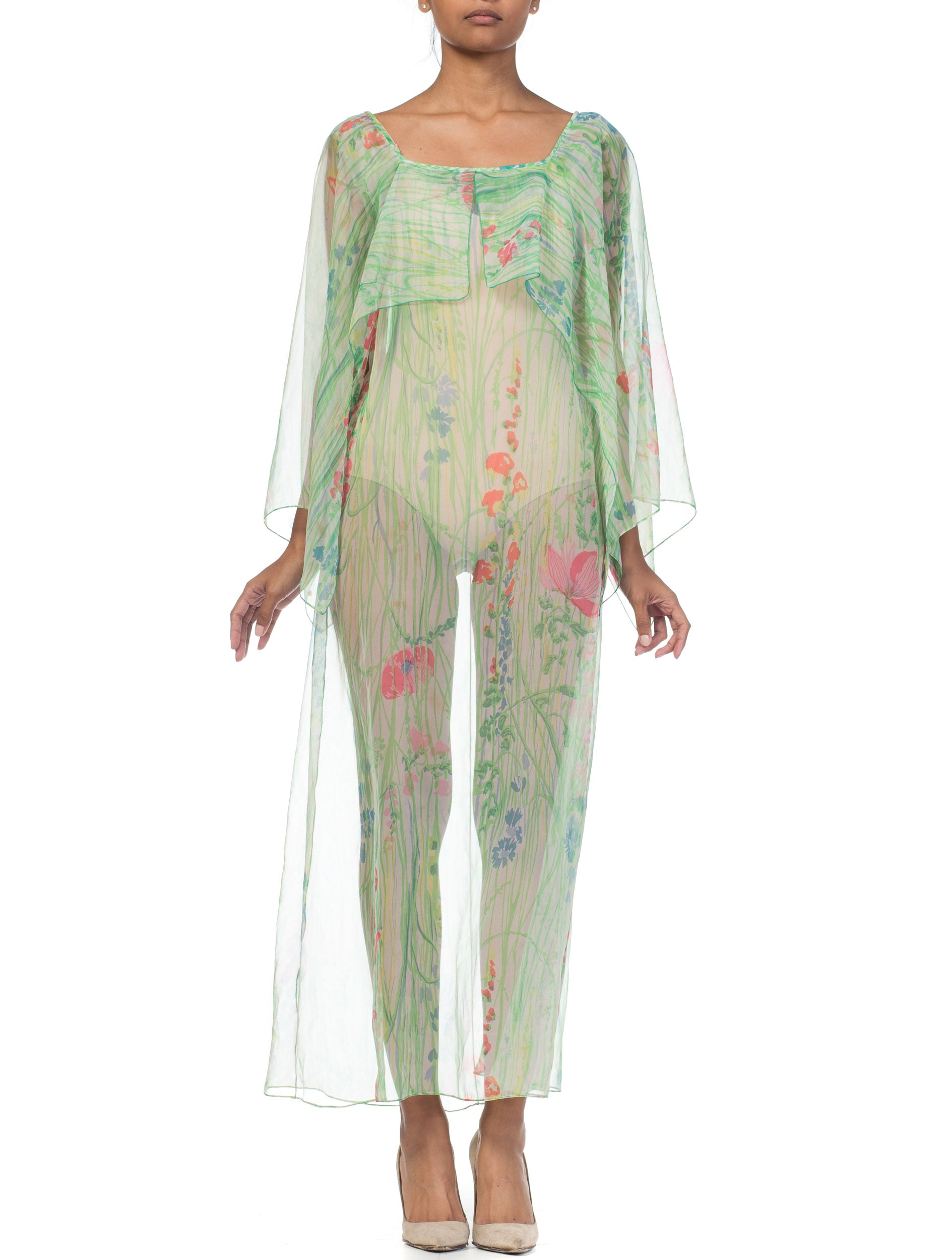1970s Sheer Floral Chiffon Dress