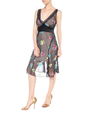 Black Chiffon Dress with Colorful Floral Embroidery