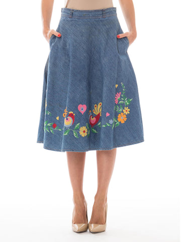 1970s Gucci-Inspired Hippie Denim Floral Embroidered A-Line Skirt