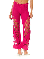 1970s Crochet Knit Pink Pants
