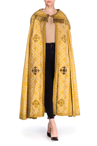 Brocade Floor Length Cape With Gold Fringe